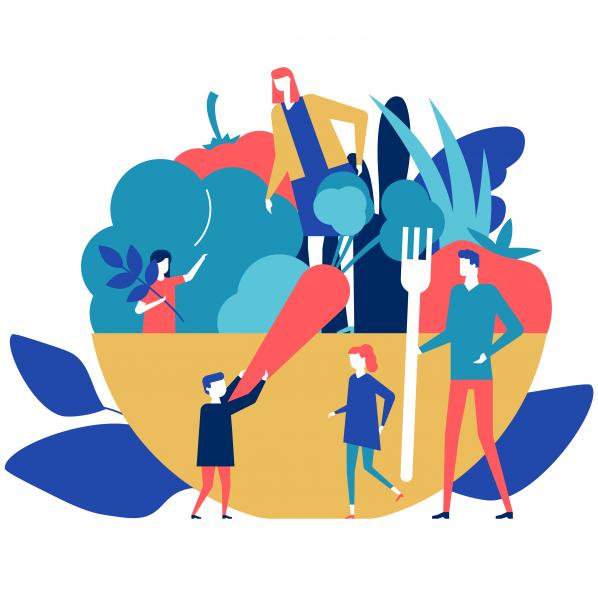 illustration d'une famille qui mange sainement