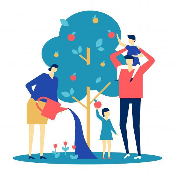 Illustration d'une famille qui protège la biodiversité