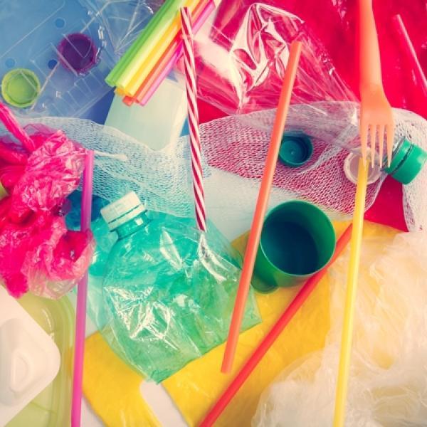 Toutes les sources de plastique à éliminer : bouteilles, sacs, pailles...