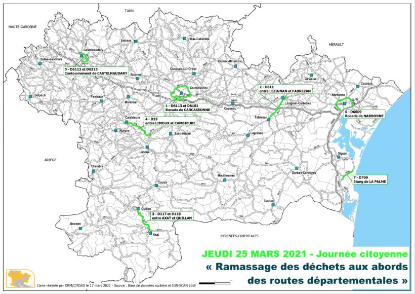 carte des points de collecte des dechets au bord des routes audoises